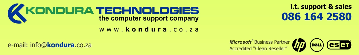 Kondura Technologies CC – the computer support company Port Elizabeth, South Africa